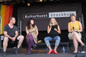 Pelle Hanesu, Gabriele Labanauskaite, AnnaLina Hertzberg och Toril Solvang. Från workshop i samband med Stockholm Pride 2011.