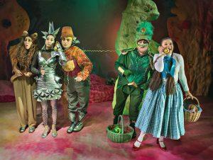 Ana Stanišić, Lisa Hu Yu, Andreas Ferrada-Noli, Viktor Björkberg och My Holmsten i Trollkarlen från Oz. Foto Bertil Hertzberg 2018.
